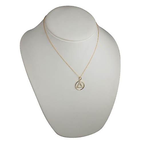 9ct Gold 21mm round diamond cut edge Alcoholics Anonymous Pendant with Cable link Chain