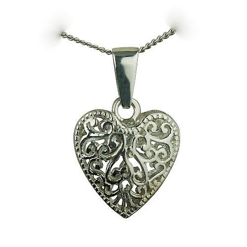 Silver 20mm double sided filigree heart with a bail loop with a curb Chain 18 inches
