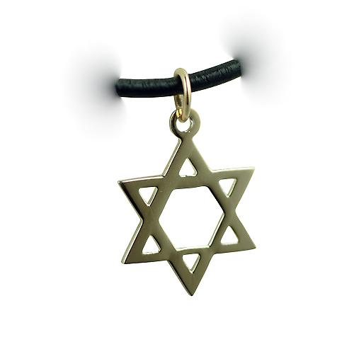 1/20th 14ct yellow gold on Silver 17x17mm plain Star of David Pendant with a Leather Pendant Cord 24 inches
