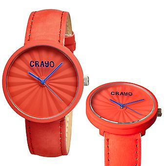 Crayo Pleats Leather-Band Unisex Watch - Red