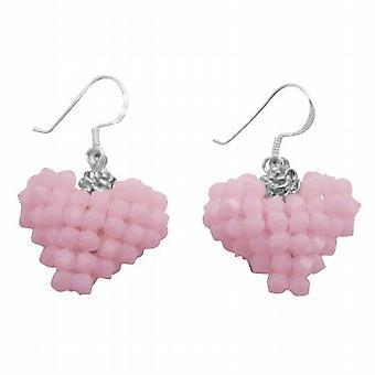 Boucles d'oreilles du coeur gonflé à la main couleur bonbon rose bébé rose albâtre