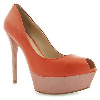 Guess Gabra Spuntato Open Toe Leat Orange FL1GRALEM07ORANGE ellegant  women shoes