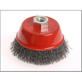 Faithfull Wire Cup Brush 100mm x M14 x 2 Stainless Steel 0.30mm