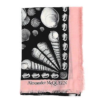 Alexander Mcqueen Black/pink Wool Scarf