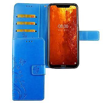 Nokia 8.1 / couverture d'affaire sac de protection pour le téléphone cellulaire Nokia X 7 Flip case porte-cartes bleu