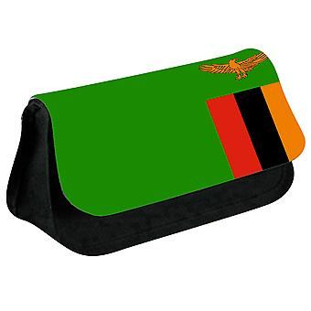 Zambia Flag Printed Design Pencil Case for Stationary/Cosmetic - 0196 (Black) by i-Tronixs