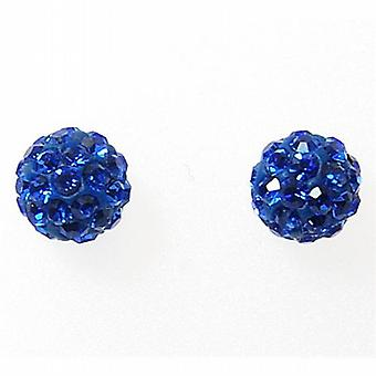 TOC Girls Sterling Silver Blue Crystal Disco Ball Stud Earrings 6mm