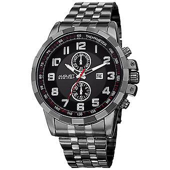 August Steiner Men's Swiss Quartz Multifunction Tachymeter Stainless Steel Black Bracelet Watch AS8153BK
