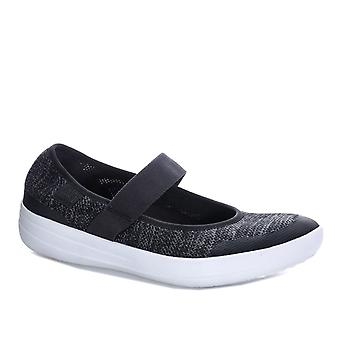 Womens Fitflop Uberknit Mary Jane Ballerina Shoes In Black / Soft Grey