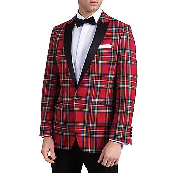 Dobell Mens Red Tartan Tuxedo Jacket Slim Fit Contrast Peak Lapel
