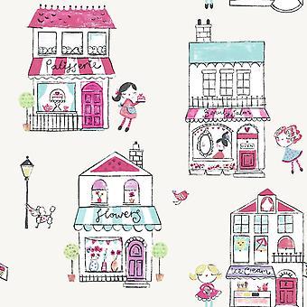Girls Cream Pink Floral Animal Shop Front Wallpaper Children's Holden Boutique