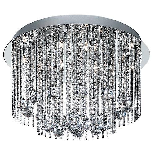 Searchlight 8088-8CC Beatrix Modern Crystal Flush Light With Dimond Cut Chrome Rods
