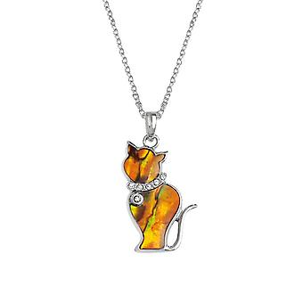 Eternal Collection Tabby Orange Paua Shell Silver Tone Cat Pendant