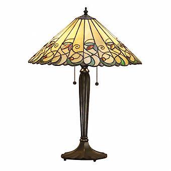 2 lampe de table moyenne lumière Tiffany verre, peinture bronze foncé avec des reflets