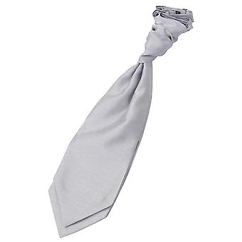 Sølv shantung pre-bundet bryllup Cravat