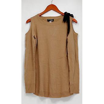Femmes avec le chandail de contrôle XXS Scoop Cou épaule froide Brun A298648