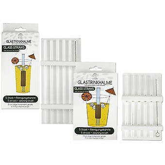 Pailles à boire en verre, ensemble de 10 cm et 20 cm incl. 2 brosses 10 pailles à boire, 100% verre, transparent, 15 cm et 20 cm, 2 brosses de nettoyage.