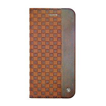 iPhone 6/6s Plus - 5.5 Inch Mode Wooden Checker Embossed Brown Folio Hard Shell