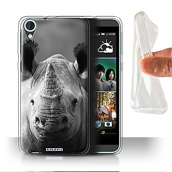 STUFF4 Gel/TPU Case/Cover for HTC Desire 820s Dual/Rhino/Mono Zoo Animals