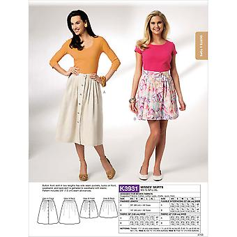 Misses' Skirts  Xs  S  M  L  Xl Pattern K3931