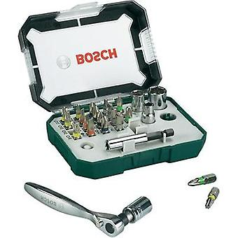 Bit set 26-piece Bosch Accessories Promoline 2607017322 Slot, Phillips, Pozidriv, Allen, TORX socket incl. torque wrench