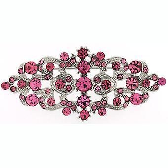 Broscher Store Fuchsia rosa Swarovski Crystal & antikt Silver Victorian brosch
