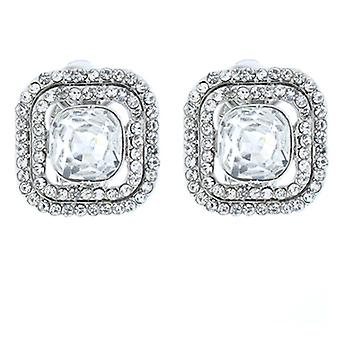 Clip On Earrings Store Silver and Clear Crystal Square Clip On Earrings