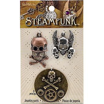 Steampunk métal Accents 3/Pkg-crânes & STEAM102 tibias