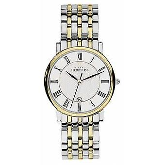Michel Herbelin Mens Two Tone Stainless Steel Silver Gold Strap 12543/BT01 Watch