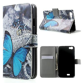 Blue butterfly PU leather cover for Kiritkumar Lenny supported and door cards