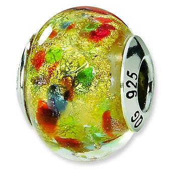 Sterling Silver Reflections Yellow Multi Italian Murano Bead Charm