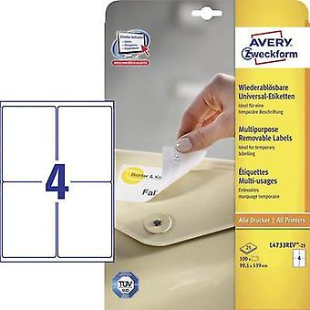Avery-Zweckform L4733REV-25 Labels (A4) 99.1 x 139 mm Paper White 100 pc(s) Removable All-purpose labels Inkjet, Laser,