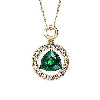 14K Gold Plated Encircled Emerald Green Crystal Pendant