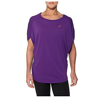 Asics Womens Ladies Fitness Training Oversized Shirt Tee Purple