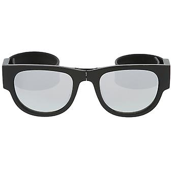 Portable Rubber Snap Arms Square Mirror Lens Foldable Horn Rimmed Sunglasses 53mm