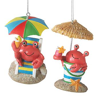 Fun Red Crabs at Beach Christmas Holiday Ornaments Set of 2 Midwest CBK