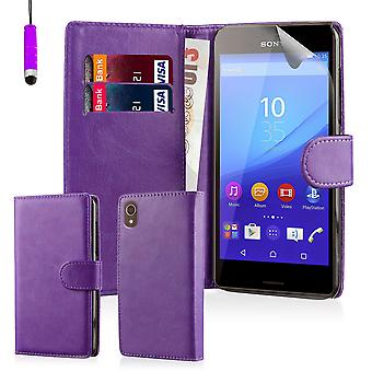 Book wallet case cover for Sony Xperia M5 - Purple