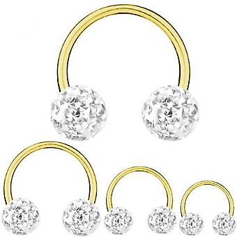 Circular Barbell Horseshoe Gold Plated Titanium 1,6 mm, Multi Crystal Ball White