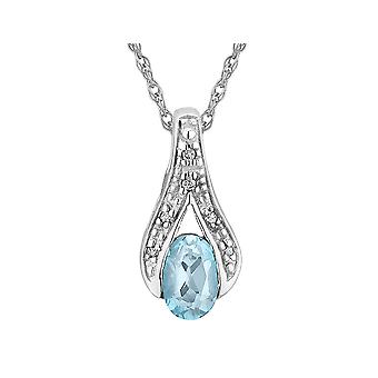 Aquamarine Pendant Necklace with Diamonds in 10K White Gold with Chain
