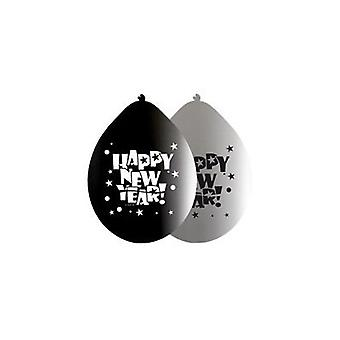 Silvester Deko Ballons 8 St. Silver of black happy new year balloons