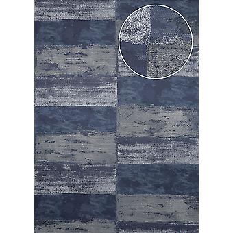 Stone tiles wallpaper Atlas ICO-5072-7 non-woven wallpaper smooth with natural patterns shimmering blue black blue steel-blue silver 7,035 m2