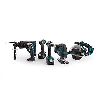 Makita Dlx6068Pt 18V Li-Ion 6 Piece Cordless Kit (3 X 5.0Ah) With Twin Charger
