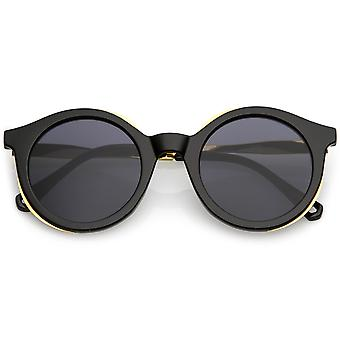 Modern Horn Rimmed Round Sunglasses With Metal Trim Round Flat Lens 51mm