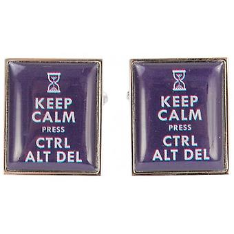 Zennor garder calme Press Ctrl Alt Del Cufflinks - bleu