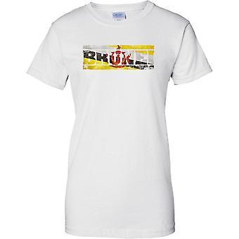 ブルネイ グランジ国名フラグの効果 - レディース T シャツ