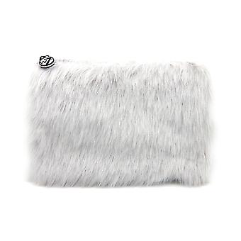 W7 Grey Fluffy/Furry Large Cosmetic Toiletry Make Up Bag