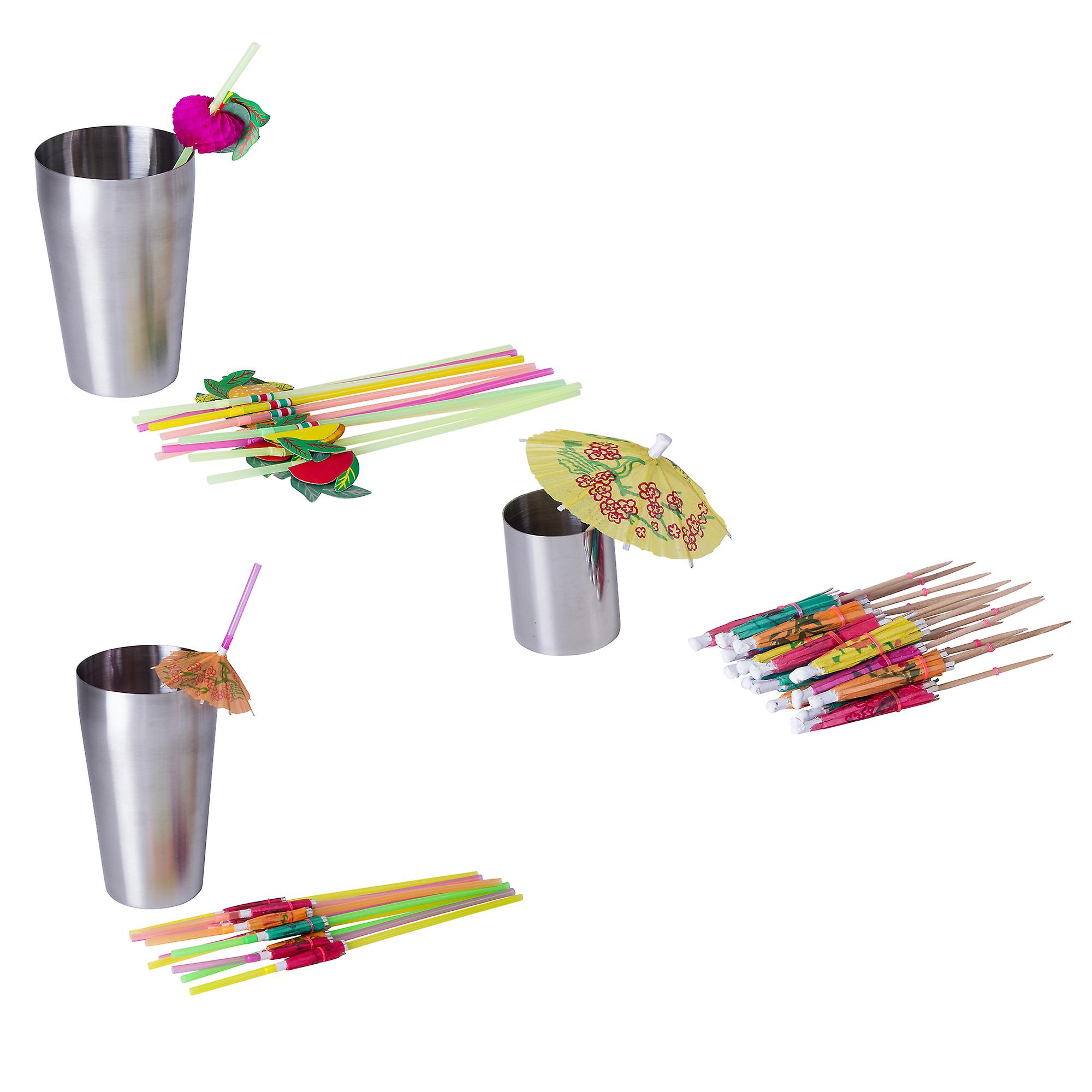 Barmix - 56pcs Stainless Steel Cocktail Shaker Set - 750 ML Shaker Cup Strainer Twisted Mixing Bar Spoon 25ml + 50ml Measuring Cups a Jiggle  Strainer  Muddler Knife Ice Bucket and Tongs 24 Hawaiian Straws 3D Round Ice Ball Mold  + FREE Ideas Booklet with 1000 Divine Recipes