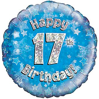Oaktree 18 Inch Happy 17th Birthday Blue Holographic Balloon