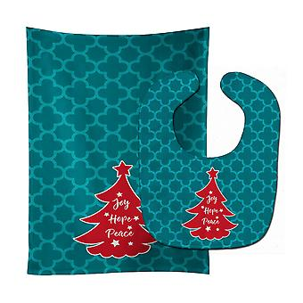 Carolines Treasures  BB6970STBU Christmas Tree Teal Red Baby Bib & Burp Cloth