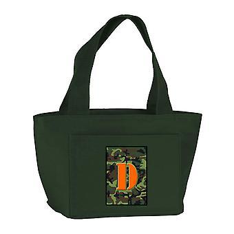 Lettera D Monogram - Camo verde scuola coibentato con cerniera lavabile ed elegante Lu